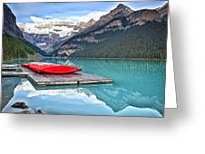 Canoes Of Lake Louise Alberta Canada Greeting Card by George Oze