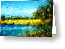 Canola Fields Impressionist Landscape Painting Greeting Card by Michelle Wrighton