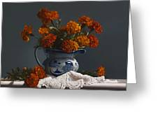 Canton Pitcher With Marigolds Greeting Card by Larry Preston