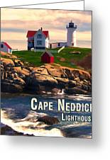 Cape Neddick Lighthouse  At Sunset  Greeting Card by Elaine Plesser