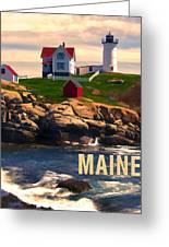 Cape Neddick Lighthouse Maine  At Sunset Greeting Card by Elaine Plesser