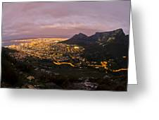 Cape Town Nights Greeting Card by Aaron S Bedell