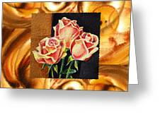 Cappuccino Abstract Collage French Roses Greeting Card by Irina Sztukowski