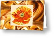 Cappuccino Abstract Collage Poppy Greeting Card by Irina Sztukowski