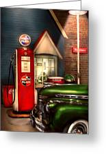 Car - Station - White Flash Gasoline Greeting Card by Mike Savad