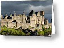 Carcassonne Stormy Skies Greeting Card by Robert Lacy