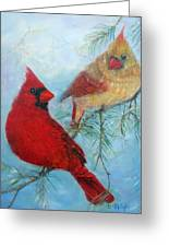 Cardinal Pair Greeting Card by Loretta Luglio