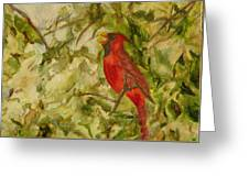 Cardinal Singing Greeting Card by Eldora  Larson
