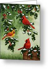 Cardinals And Holly - Version With Snow Greeting Card by Crista Forest