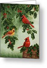 Cardinals And Holly - Version Without Snow Greeting Card by Crista Forest
