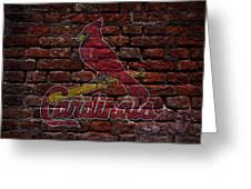 Cardinals Baseball Graffiti On Brick  Greeting Card by Movie Poster Prints