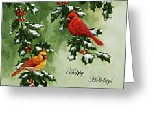 Cardinals Holiday Card - Version With Snow Greeting Card by Crista Forest