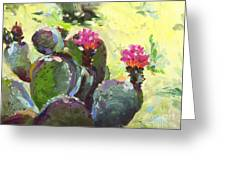 Carefree Cactus Greeting Card by Renee Womack