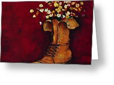 Cargo Boot Series Unusual Flower Pot Greeting Card by Patricia Awapara