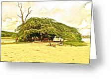 Caribbean Hut Greeting Card by Amanda Just