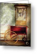 Carnival - The Popcorn Cart Greeting Card by Mike Savad