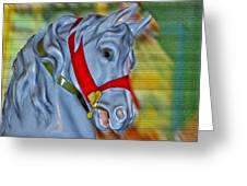 Carousel Horse Red Bridle Greeting Card by Thomas Woolworth