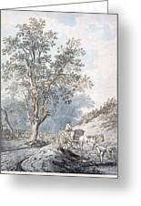 Cart And Horse Greeting Card by Joseph Constantine Stadler