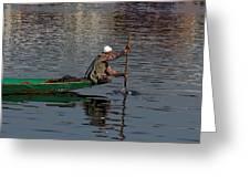 Cartoon - Man Plying A Wooden Boat On The Dal Lake Greeting Card by Ashish Agarwal