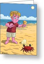 Cartoon Boy With Crab On Beach Greeting Card by Martin Davey