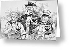 Cartoon depicting the impact of Franklin D Roosevelt  Greeting Card by American School