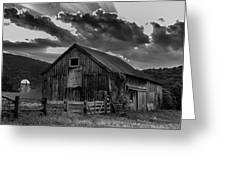Casey's Barn-black And White  Greeting Card by Thomas Schoeller