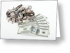 Cash For Sterling Silver Scrap Greeting Card by Gunter Nezhoda