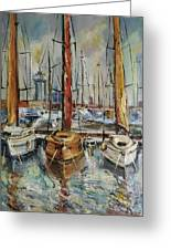 Castellon Boats At Noon Greeting Card by Stefano Popovski