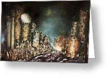 Castle Moonrise Greeting Card by Kaye Miller-Dewing