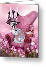 Cat In Mad Hatter Hat Greeting Card by Carol Cavalaris