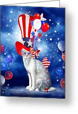 Cat In Patriotic Hat Greeting Card by Carol Cavalaris