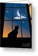 Cat On The Window Greeting Card by Aleksey Tugolukov