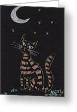 Cat Under The Moonlight Greeting Card by Angel  Tarantella