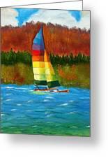 Catamaran Sailing Greeting Card by Rossana Kelton