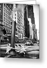 Catching A Cab Greeting Card by John Rizzuto