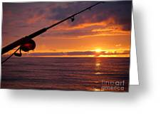 Catching A Last Glimpse Of The Sunset. Greeting Card by Sylvie Heasman