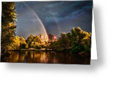 Cathedral Crossing Double Rainbow Greeting Card by Linda Pulvermacher