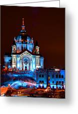 Cathedral Of St Paul All Dressed Up For Red Bull Crashed Ice Greeting Card by Wayne Moran
