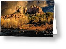 Cathedral Rock Before The Rains Came Greeting Card by Jon Burch Photography