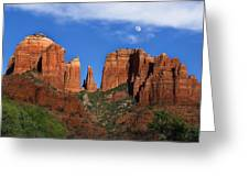 Cathedral Rock Moon Rise Color Greeting Card by Dave Dilli