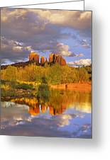 Cathedral Rock Reflected In Oak Creek Greeting Card by Tim Fitzharris