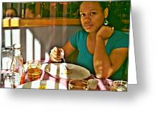 Catherine at the Diner Greeting Card by Sarah Loft