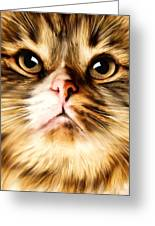 Cat's Perception Greeting Card by Lourry Legarde