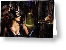 Catwoman Greeting Card by Alessandro Della Pietra