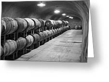 Cave Storage Of Wine Barrels Greeting Card by Kent Sorensen