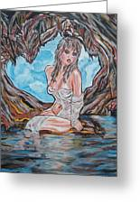 Cave Woman Greeting Card by Lorinda Fore