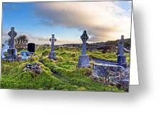 Celtic Crosses In An Old Irish Cemetery Greeting Card by Mark Tisdale