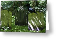 Cemetery With Ancient Gravestones And Black Crow  Greeting Card by Georgia Fowler