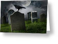 Cemetery With Old Gravestones And Moon Greeting Card by Sandra Cunningham