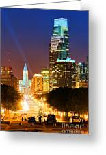 Center City Philadelphia Night Greeting Card by Olivier Le Queinec